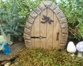 Free Shipping    Miniature Fairy Door faux wood has wire stems for secure placement in your outdoor garden or indoor terrarium