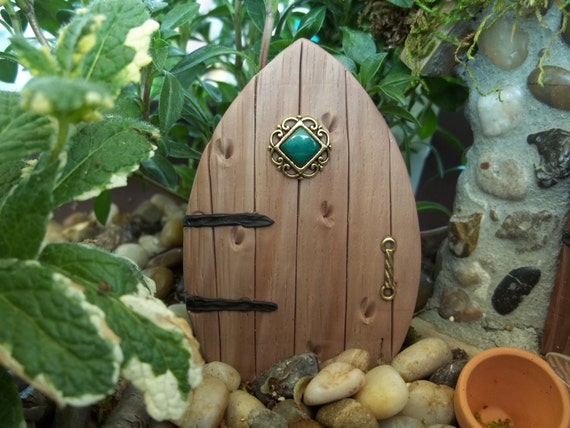 Miniature  Fairy Door with faux wood finish perfect size to transform a birdhouse into a fairy house