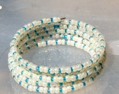 White and Blue Memory Wire Bracelet