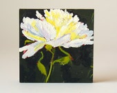 End of Summer Sale, Flower Painting White Peony Original Small Oil Painting on Wood Painting Wall Decor