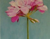 Flower Painting Pink Geranium Wall Decor Oil on wood panel 10x10 inch wall art