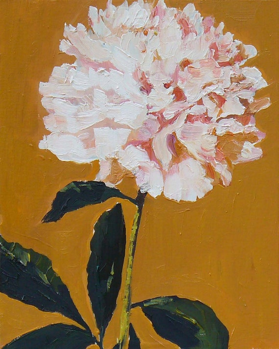 Flower Painting,  Pink Peony Small Original Oil  Painting on Wood panel home Decor