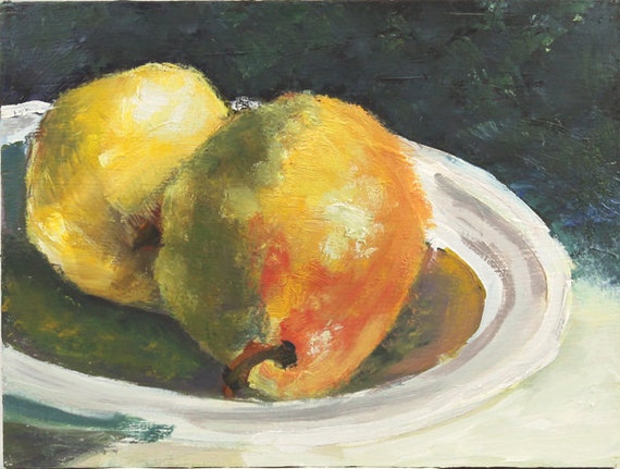 Pear Still life painting Original Oil on Wood panel 6x8 inch bowl of fruit