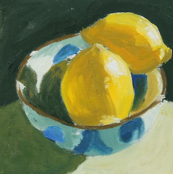 Lemon Still Life Painting Original Oil on Canvas panel 8x8 inch wall art