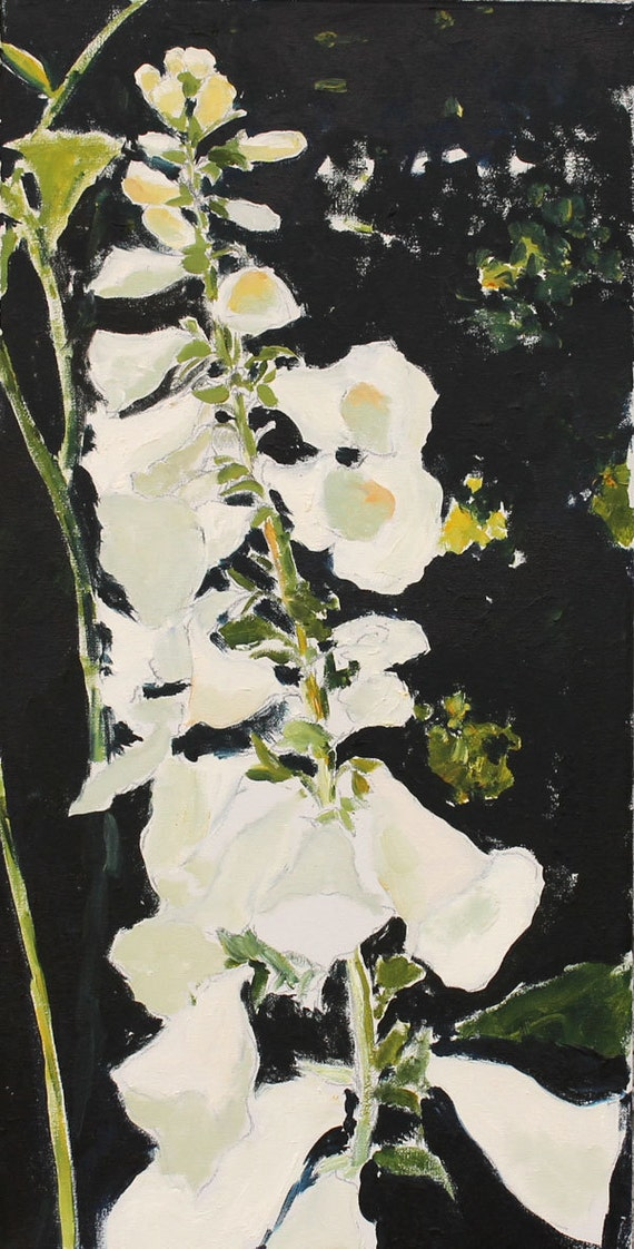 Foxglove Painting Original Oil flower still life on Canvas Black White floral Canada 12x24