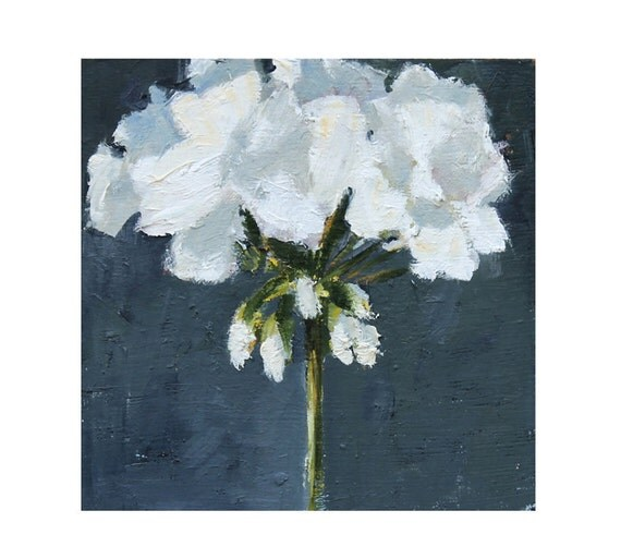 Oil Painting White Geranium Flower Still Life Painting on wood panel 8x8 Black and White wall decor