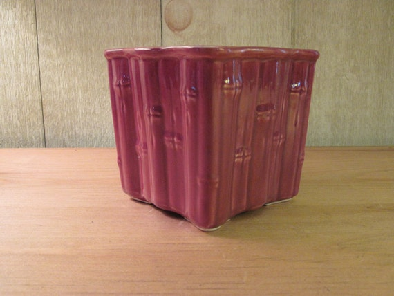 Great Piece of USA Pottery with Bamboo Motif - Purple/Lavender