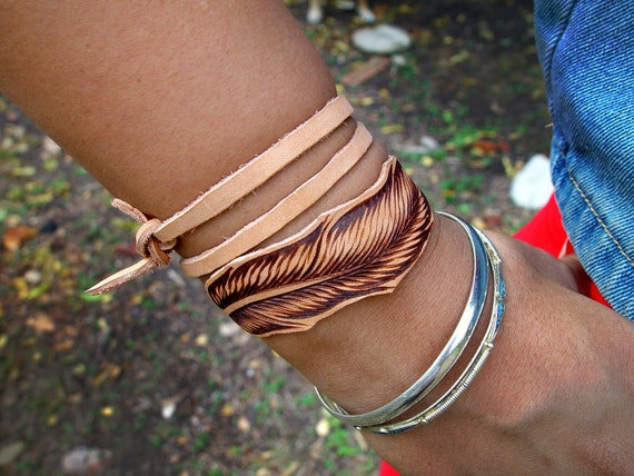 Leather Feather Wrap/Band - Hand Burned Made to Order - Small