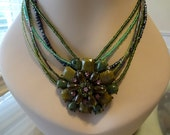 Bella Edwardian Pendant and Earring Set Olive Green and Lavander  Pendant  Earrings