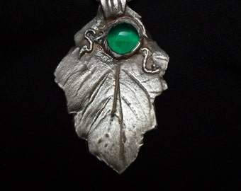 Leaves  of Fall Sterling Silver Pendant with Dichoric Accent B6