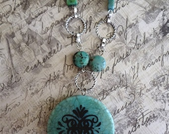 Mod Turquoise Pendant  Turquoise Medallion  Turquoise Jewelry Necklace