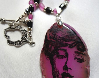 Beautiful Lady Pink Aggate Pendant on Beaded Necklace