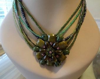 Bella Edwardian Pendant and Earring Set Olive Green and Lavander  Pendant  Earrings