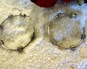 Sterling Silver Wire Wrapped Hoop Earrings