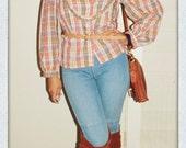 Vintage brown/taupe/tan plaid blouse