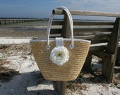 White Peony Floral Embellished Straw Tote, Purse, Beach Bag