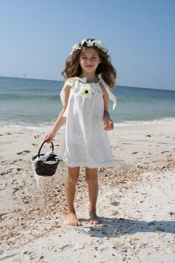 Items similar to white paisley eyelet flower girl dress for Flower girl dress beach wedding