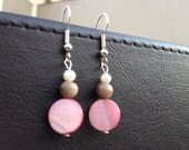 Shell Bead Dangle Earrings - Pink and Pearl