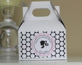 Gable favor boxes with Barbie theme label or I can match any theme in my shop, 12 count