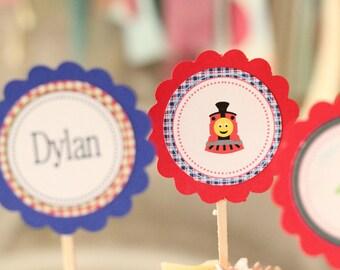 Train Choo Choo train theme birthday cupcake toppers