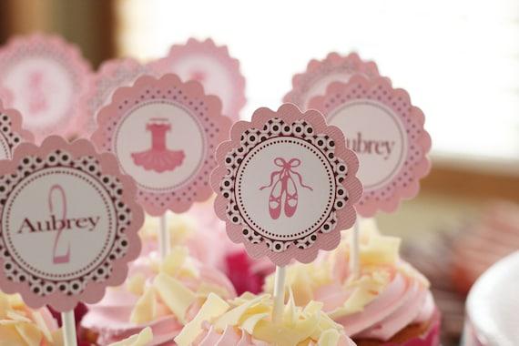 Ballerina birthday cupcake toppers - Pink