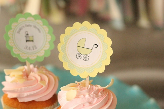 Yellow and Green Baby Shower Cupcake Toppers--green and yellow