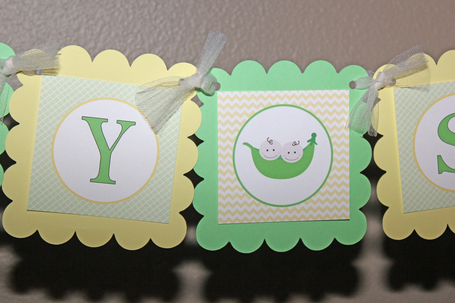 sweet pea baby shower banner green and yellow two peas in a