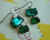 Swarovski octagon peridot green with emerald jewel with  french ear wire  earrings--- E 2019