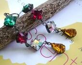 Swarovski  Multi color  jewels in oxidized brass  dangle earrings ---  E 2020