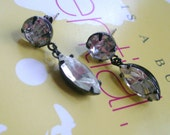 Swarovski round and navette clear crystal  jewels  in oxidized post earring  --E 2024
