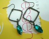 Oxidized sterling silver textured square with navette in oxidized brass  dangle earring--  E 2025