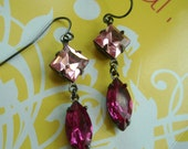 Swarovski square and navette  sapphire jewels in   Oxidized brass with french wire   earrings--E2030