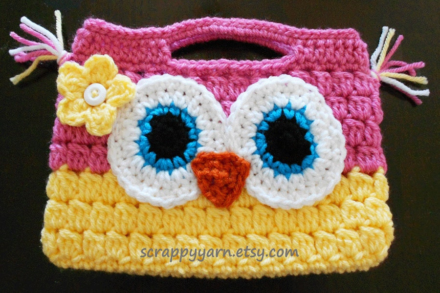 Free Crochet Pattern Owl Tote Bag : Crochet Owl Purse by ScrappyYarn on Etsy