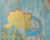 "art // print // giclee // collage // ""gold flower"", 9 x 12"
