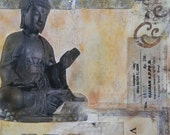 "art // ORIGINAL COLLAGE // fine art print // ""Coffeeshop Buddha"""