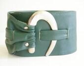 Leather Belt VINTAGE Emerald GREEN Hook Buckle