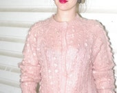 RESERVED for MAGGIE Mohair Cardigan Softest Pastel Pink Oversize