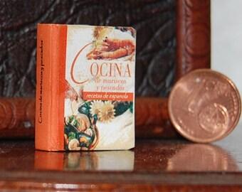 1/12 Scale Miniature book spanish, Cocina de mariscos y pescados