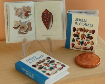 Shells & Corals, miniature book for dollhouse