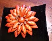 Vintage Brooch, brown leather flower brooch