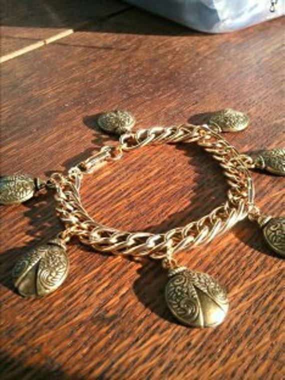 Vintage Upcycled charm bracelet, Bronze ladybug charm bracelet upcycled, statement