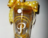 On SALE now - Preppy Personalized Sunshine Yellow and White Monogrammed 20 oz Tumbler with Lid and Straw - Double Insulated
