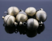5 Sets Strong Antique Brass Tone Brass Jewelry Magnetic Lobster Clasp End Cap Dia. 10mm Best for Necklace