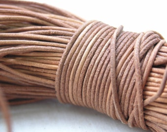 10 YARD Round Natural Real Leather Cord Without Clasp Lobster 1.5mm