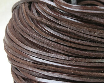10 YARD Flat  Brown Color  Real Leather Cord Without Clasp Lobster 3.0x3.0mm