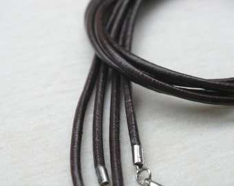 20pcs Brown Round Real Leather Necklace Cord With Clasp Lobster 3.0mm/18''
