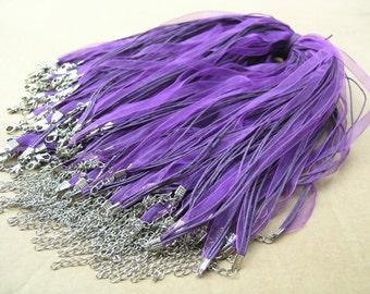 50pcs 17'' Purple Organza Voile Ribbon Wax  Necklace Cord Adjustable Length