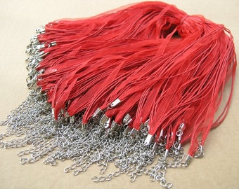 25pcs 17''  Red Organza Voile Ribbon Wax  Rattail Necklace Cord Adjustable Length