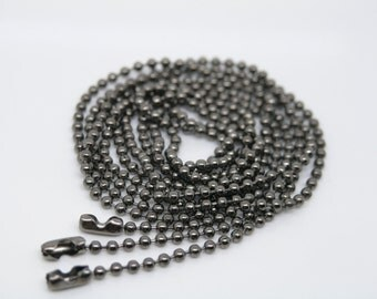 28'' Lot of 20PCS 2.4mm Bead Gun Black Ball Chain Necklace Lead Free