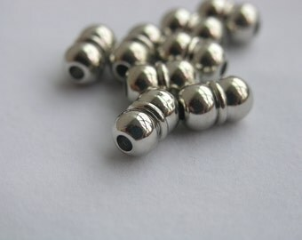 10 Sets Strong  Silver Tone Brass Jewelry Magnetic Clasp End Cap Dia. 3mm